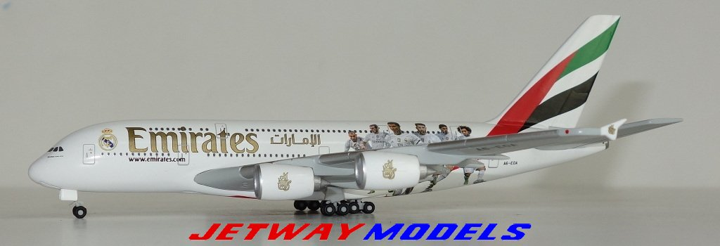 """Herpa Wings 529242  Emirates Airbus A380 /""""Real Madrid/"""" 1:500 NEU"""